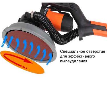 При вращении шлифовального круга происходит удаление пыли, обращайте на это внимание при выборе шлифовальной машинки!