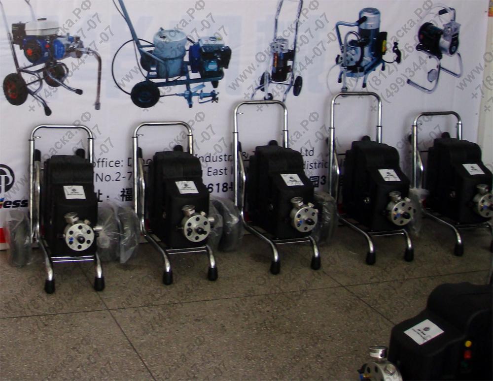 Электрический покрасочный агрегат безвоздушного распыления мембранного типа.