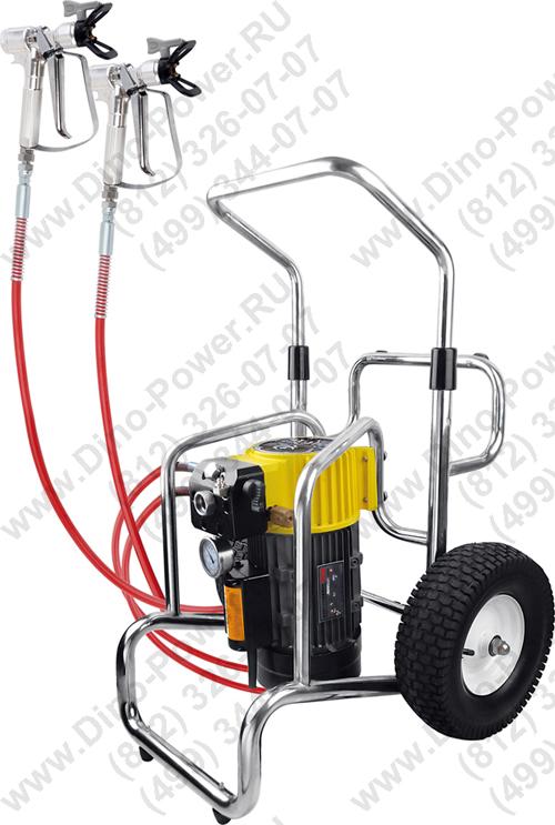 безвоздушное распыление известкового покрытия с помощью агрегата высокого давления авд Cb-7000
